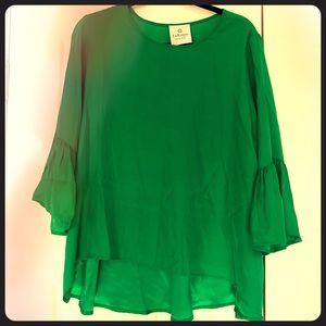Emerald green silk top